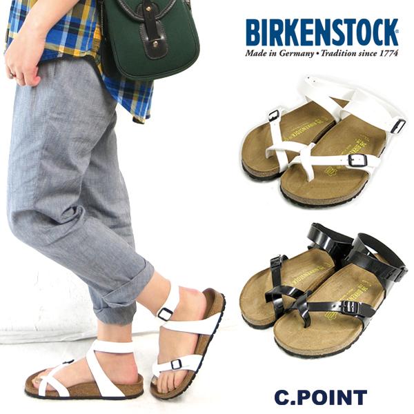 6f93b5704 (Birkenstock) BIRKENSTOCK  YARA Yarra BF patent ankle strap sandal enamel  Birkoflor vircoflow white black Germany machined monotone shoes ( Lady s)