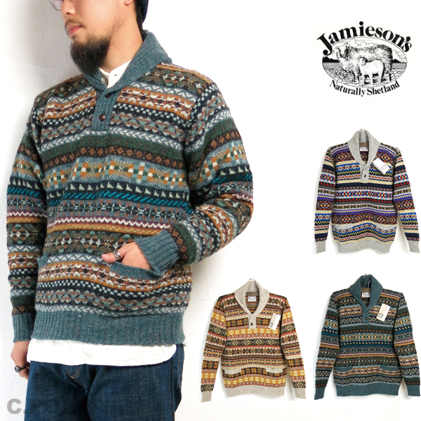 43bc61bf5 C.POINT  (The jamiesons) Jamieson s  MK385 Shawl Pullover Knit fair ...