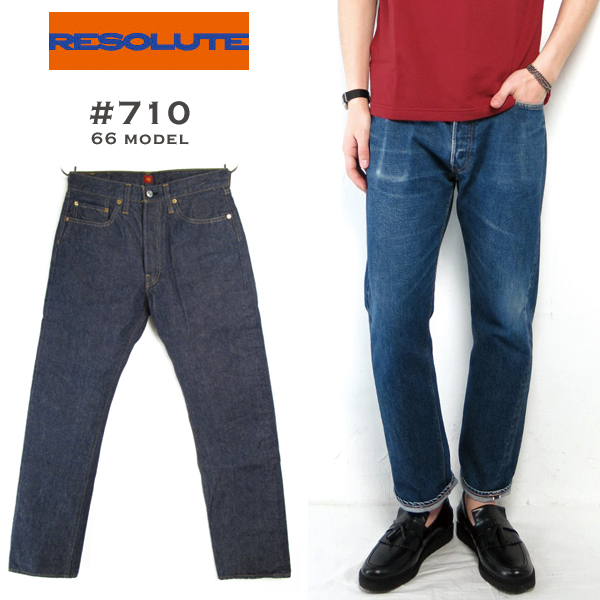 RESOLUTE «リゾルト» # 710 66 Model 28-34inch Rigid/OneWash 66 model tight straight denim pants jeans paper patch 13.75 oz momotarō rigid & one wash cotton 100% made in Japan