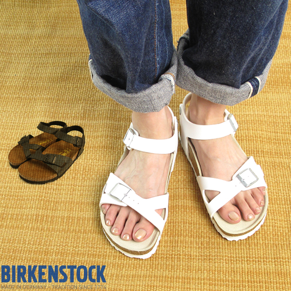 9a64aedd076a6 BF White   Birkenstock   summer Lady s  RIO BIRKENSTOCK new white-collar Rio  ♪ ankle strap and cross-wind belt Sandals Germany gold