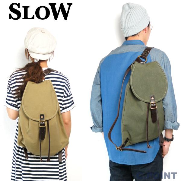 (再入荷)(スロウ) SLOW #300S50E NapSack リュックサック 8号倉敷帆布 キャンバス オイルドコットン 栃木レザー メンズ レディース 日本製 ナップサック バッグ 鞄 (送料無料/男女兼用/ベージュ/カーキ/真鍮/バックパック)