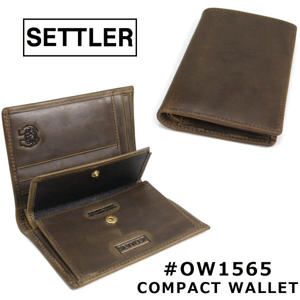 (セトラー) SETTLER #OW-1565 COMPACT WALLET コンパクトウォレット 財布 オイルドレザー 革 2つ折り パスケース付き ビジネス カジュアル メンズ レディース 男女兼用 (送料無料/WhitehouseCox/ホワイトハウスコックス/ギフト/プレゼント)