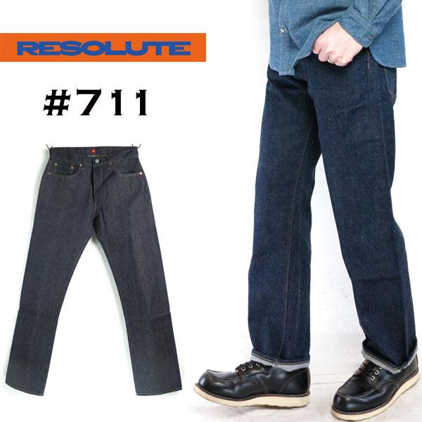 (リゾルト) RESOLUTE #711 W36inch XXモデル ストレート デニム パンツ ジーンズ 革パッチ13.0oz ボタン リジッド ワンウォッシュ 林芳亨(日本製/送料無料/ボトムス/メンズ/ジーパン/ストレート/Denim/インディゴ/indigo)