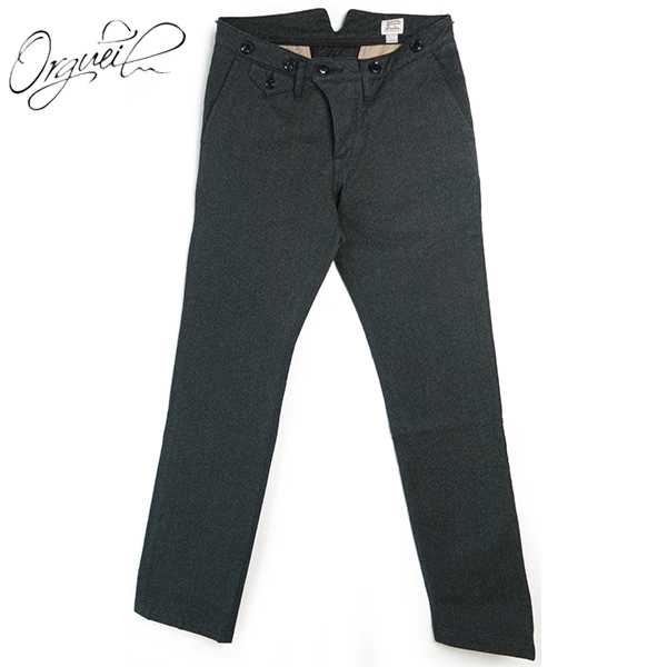 (18AW 再入荷)(オルゲイユ) ORGUEIL #OR-1002 Classic Low Trousers クラシックロートラウザー 撚り杢ブラックツイル ボタンフライ ナットボタン サスペンダーボタン 綿 ブラック 日本製 (送料無料/ダルチザン/DARTISAN/メンズ/セットアップ/パンツ/ボトムス)