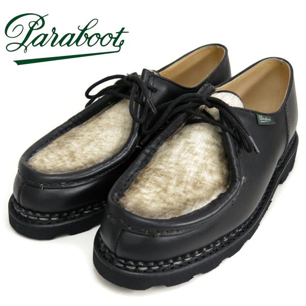 (パラブーツ) Paraboot #MICHAEL -PONY- ミカエル ポニー チロリアンシューズ ノワール ブラック 黒 リスレザー マルシェソール ノルヴェイジャン製法 フランス製(送料無用/メンズ/オイルド/Lisse/Marche/ストームウェルト/革靴)