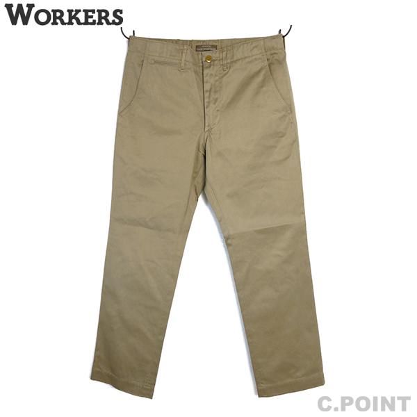 (19SS) (ワーカーズ) WORKERS #Officer Trousers,Standard Fit Class1 10oz Chino チノパン トラウザー ボトムス ボタンフライ 脇割り 両玉縁ポケット 通年 ベージュ 綿100% 製品洗い 日本製(送料無料/新規取扱/メンズ/カジュアル/アイビー/トラッド/アウター)