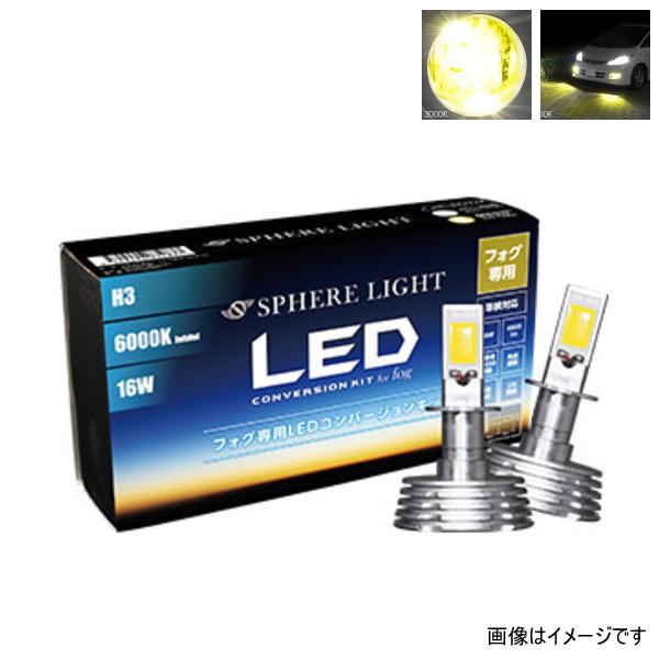 スフィアライト SHKPB030 フォグ用スフィアLED H3 コンバージョンキット 淡黄色 イエロー 3000K 2灯合計4800lm 2年保証