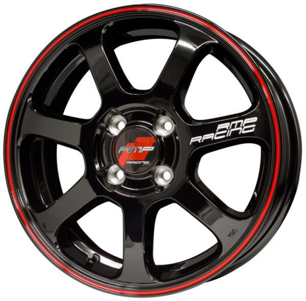 RMP RACING R25 16インチ 16×6J インセット:43 穴数:4 PCD:100 ハブ径:67 カラー:ブラック/リムレッドライン【ホイール4本価格】
