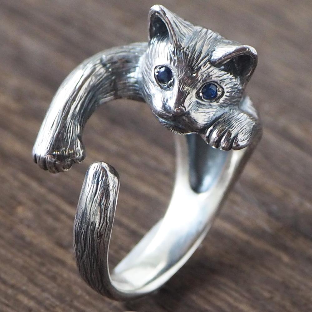 """【2色の瞳から選べます】銀工房AramaRoots(アラマルーツ)猫リング """"ピクシー"""" ねこ シルバー [AR29C] アクセサリー作家・加藤心姿さんの手作りアクセサリー・ハンドメイドジュエリー 指輪 大人かわいい ネコ 動物 アニマル cat キャットモチーフ 日本製 国産"""