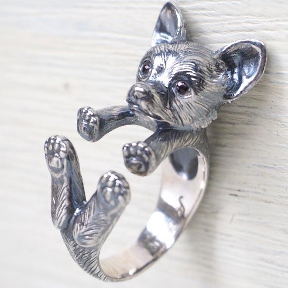 銀工房AramaRoots(アラマルーツ)犬リング チワワ シルバー レディース メンズ [AR36] アクセサリー作家・加藤心姿さんの手作りアクセサリー・ハンドメイドジュエリー 指輪 大人かわいい 犬 動物 アニマル dog ドッグモチーフ 日本製 国産