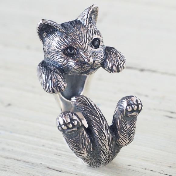 """銀工房AramaRoots(アラマルーツ)猫リング """"ラテュ"""" ねこ シルバー メンズ レディース [AR52] アクセサリー作家・加藤心姿さんの手作りアクセサリー・ハンドメイドジュエリー 指輪 大人かわいい ネコ 動物 アニマル cat キャットモチーフ 日本製 国産"""