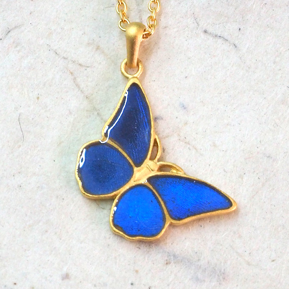 wholesale buy necklace butterfly blue pin