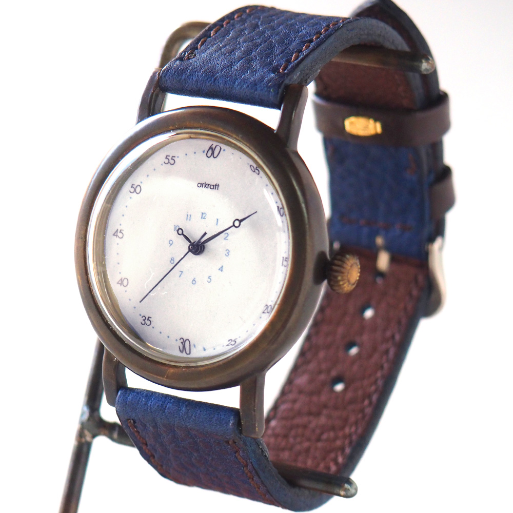 """ARKRAFT(アークラフト)手作り腕時計 """"Anton Large"""" アントン・ラージ [AR-C-007] 時計作家・新木秀和 ハンドメイドウォッチ ハンドメイド腕時計 手作り時計 メンズ・レディース 本革ベルト 真鍮 クオーツ アナログ 日本製 国産"""