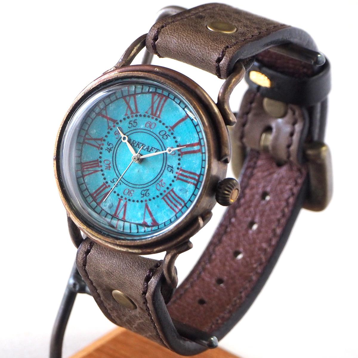 "ARKRAFT(アークラフト)手作り腕時計""Addy Large"" ローマ数字 プレミアムストラップ [AR-C-016-RO] 時計作家 新木秀和 ハンドメイドウォッチ ハンドメイド腕時計 手作り時計 本革ベルト ターコイズブルー 青 ブルー クオーツ アナログ 日本製 国産"