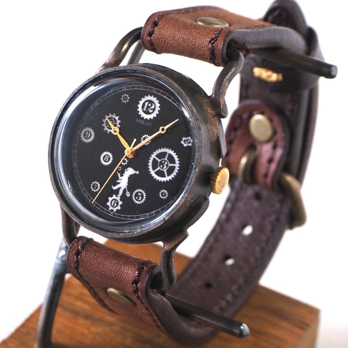 "ARKRAFT(アークラフト)手作り腕時計""Pivo Medium"" 黒文字盤 プレミアムストラップ [AR-C-018-BK] 時計作家 新木秀和 ハンドメイドウォッチ ハンドメイド腕時計 手作り時計 本革ベルト シェル文字盤 歯車 真鍮 クオーツ アナログ 日本製 国産"