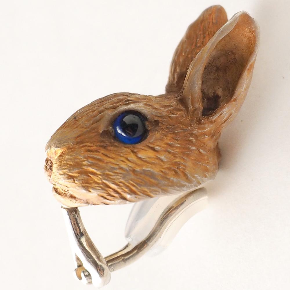 DECOvienya(デコヴィーニャ) 手作りアクセサリー 野ウサギのイヤリング シルバー 片耳 [DE-118] ハンドメイドアクセサリー ジュエリー 動物 アニマル フィギュア 個性的 可愛い 大きめ うさぎ リアル レディース 日本製 国産