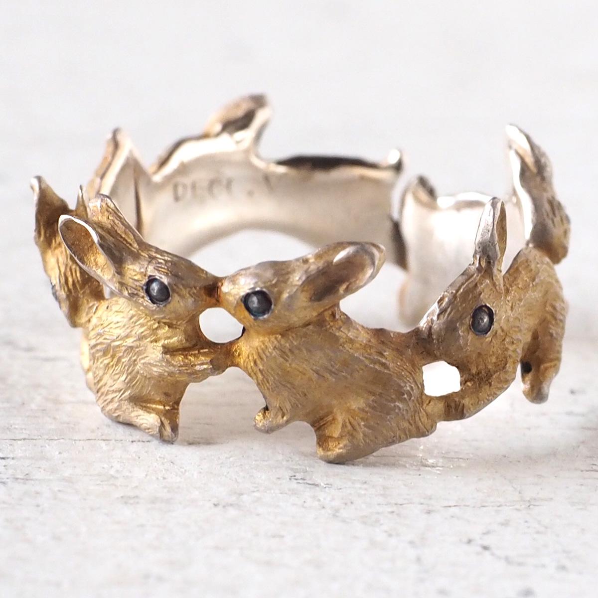 DECOvienya(デコヴィーニャ) 手作りアクセサリー ウサギ仲良しリング シルバー [DE-148S] ハンドメイドアクセサリー ジュエリー 動物 アニマル フィギュア 個性的 可愛い シルバー925 ナチュラル うさぎ 兎 ラビット リアル 日本製 国産