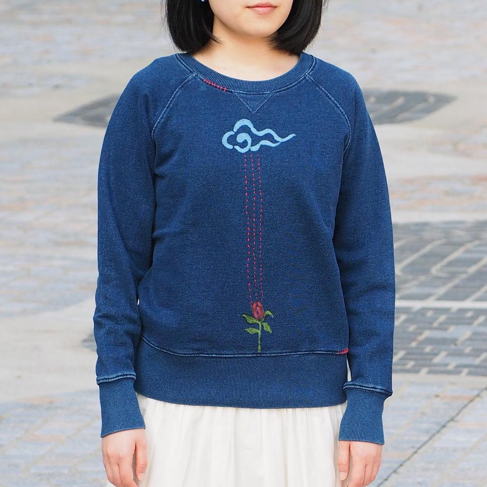GEN SENCE(ゲンセンス) 和柄手描き&リメイク トレーナー 長袖 「恵みの水」 インディゴ リメイク メンズ・レディース [GS-TR-IND02] 和柄 和風 ハンドメイド S M L XL かわいい 個性的 カジュアル 綿100% コットン100% ブルー ネイビー 青 紺 刺繍