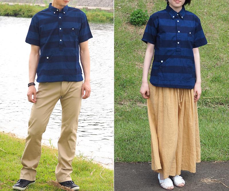 Graphzero (0) 트래블러 스웨터 버튼 다운 셔츠 반 남 빛 국경 맨 즈 ・ 레이디스 [GZ-PO-SSSH2707-BD] 오카야마 현 구라시키 시 김 스즈키 데쓰야 씨 장인 데님 브랜드 인디 고 염색 줄무늬 줄무늬 여름 옷 일본 업체 국내 생산