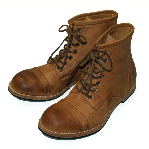 IMPROVE MYSELF(インプルーブ マイセルフ) レザーワークブーツ ステアハイド アンティーク仕上げ ブラウン メンズ [IM-1109-BR] 東京・シブヤ製靴さんのファクトリーブランド アンクルブーツ 牛革 本革 本皮 スムースレザー 日本製 国産