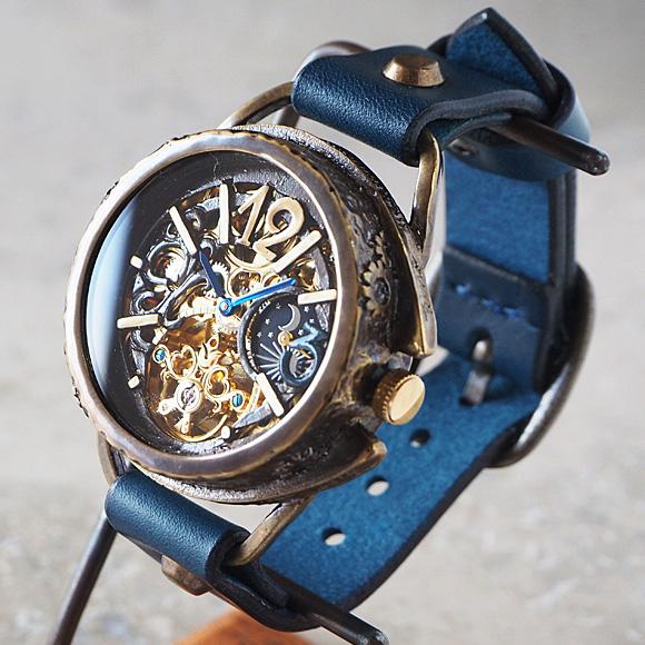 KINO(キノ) 手作り腕時計 自動巻き 裏スケルトン ナイン SUN&MOON [K-14] 時計作家 木野内芳祐 機械式ハンドメイドウォッチ ハンドメイド腕時計 両面スケルトン メンズ レディース イタリア牛革 真鍮 カジュアル 日本製 アンティーク