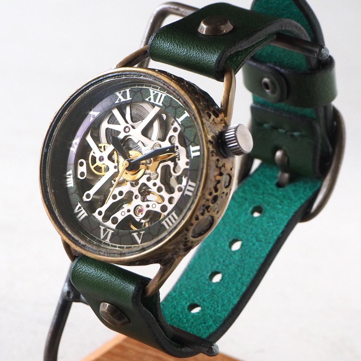 Product made in KINO (keno) handicraft watch self-winding watch back  skeleton mechanic silver green [K-15-MSV-GR] 時計作家木野内芳祐機械式腕時計 handmade watch