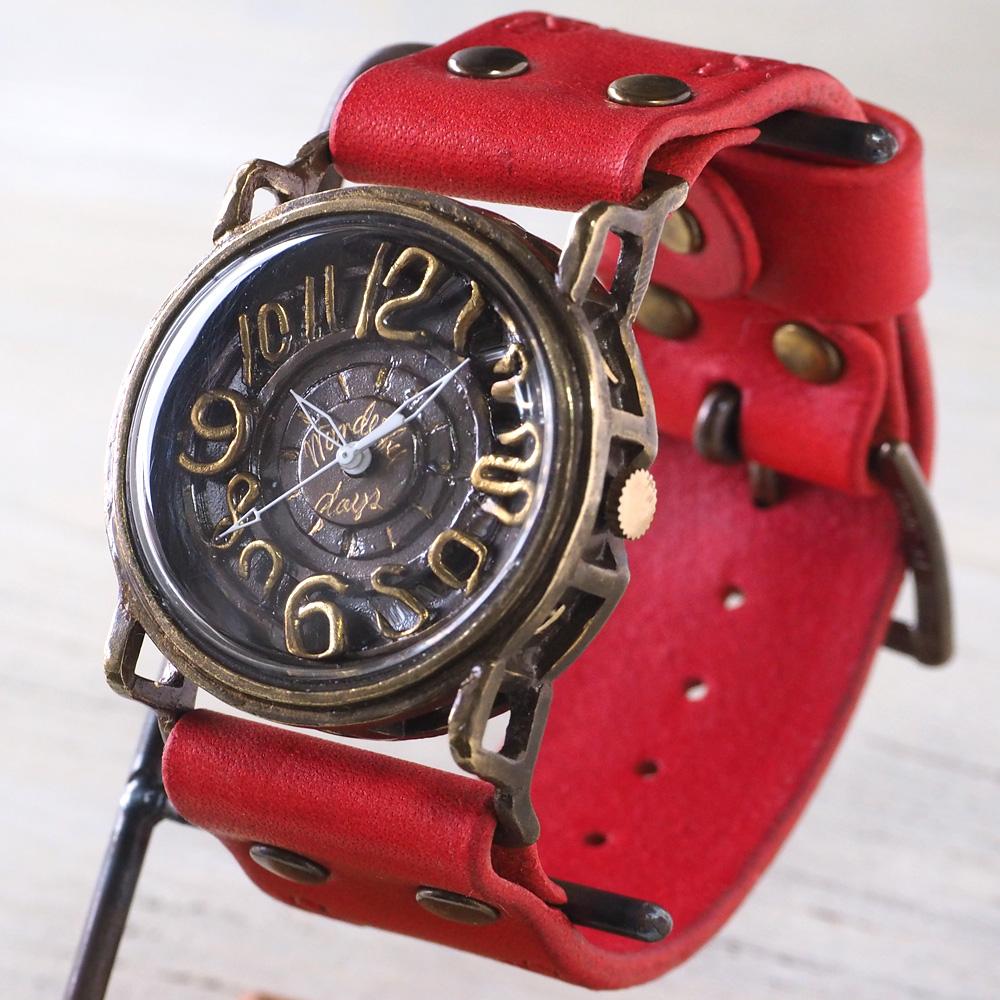 Mari Goto(マリゴトー) 手作り腕時計 ~J~ [MG-007] 時計作家 後藤麻理さんの ハンドメイドウォッチ ハンドメイド腕時計 メンズ レディース カラーが選べる革ベルト ブラック ブルー レッド ベージュ 真鍮 アンティーク調 シンプル 日本製 国産