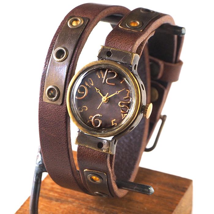 Mari Goto(마리 고트) 손수 만든 손목시계 Hole[MG-006]시계 작가・고토마 사토시씨의 핸드메이드 워치・핸드메이드 손목시계 레이디스 칼라를 선택할 수 있는 이중 권 가죽 벨트 놋쇠 안틱조 심플한가 원 좋은 일본제 국산