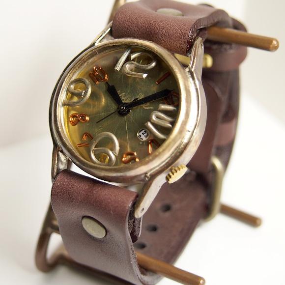 """渡辺工房 手作り腕時計""""On Time-B""""デイト付き メンズブラス [NW-214B-DATE] 時計作家・渡辺正明さんのハンドメイドウォッチ ハンドメイド腕時計 手作り時計 メンズ レディース 本革ベルト 真鍮 アンティーク調 レトロ 日付カレンダー 日本製 刻印・名入れ無料"""