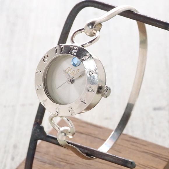"""渡辺工房 手作り腕時計 """"Silver Armlet 3"""" レディースシルバー 12時スワロフスキー [NW-289MSV] 時計作家・渡辺正明さんのハンドメイドウォッチ ハンドメイド腕時計 手作り時計 シルバー バングルタイプ ブレスレット アナログ 日本製 刻印・名入れ無料"""