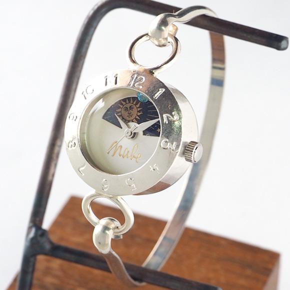 """渡辺工房 手作り腕時計 """"Silver Armlet 3"""" レディースシルバー SUN&MOON 12時スワロフスキー [NW-289MSV-SM] 時計作家・渡辺正明 ハンドメイドウォッチ ハンドメイド腕時計 手作り時計 月 太陽 シルバー ブレスレット バングル サンアンドムーン 日本製 刻印・名入れ無料"""