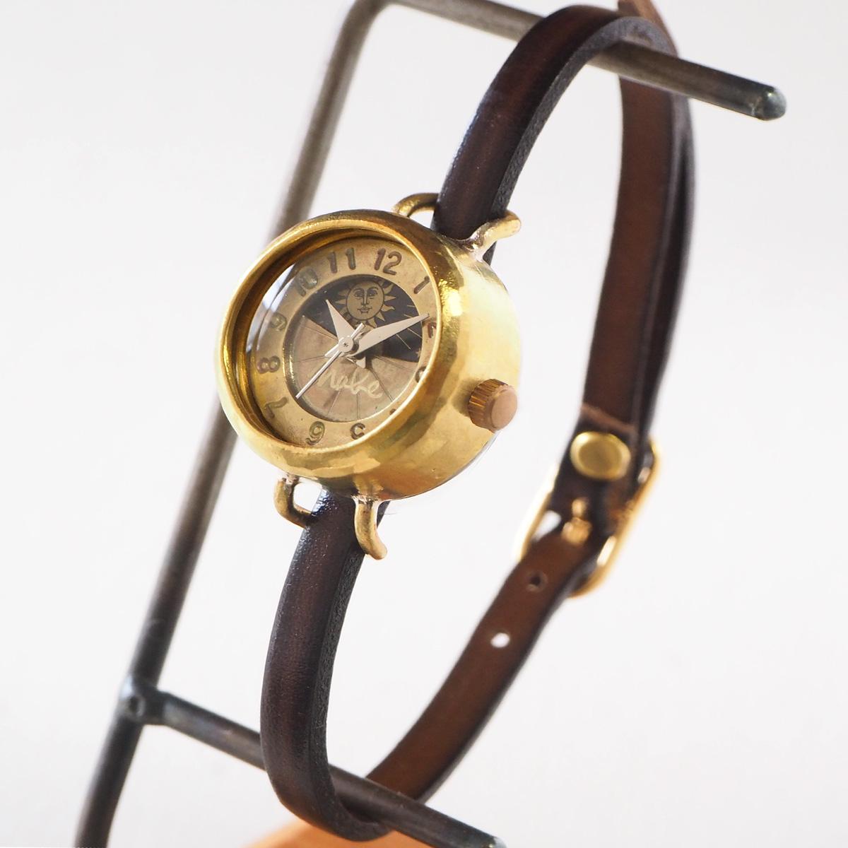 """渡辺工房 手作り腕時計 """"Lady's Brass"""" レディースブラス SUN&MOON 4.5mm幅 ブラウン レザーベルト [NW-365SM] 時計作家 渡辺正明さんの ハンドメイドウォッチ ハンドメイド腕時計 手作り時計 ゴールド ブレスレット 月 太陽 アナログ 日本製 刻印・名入れ無料"""