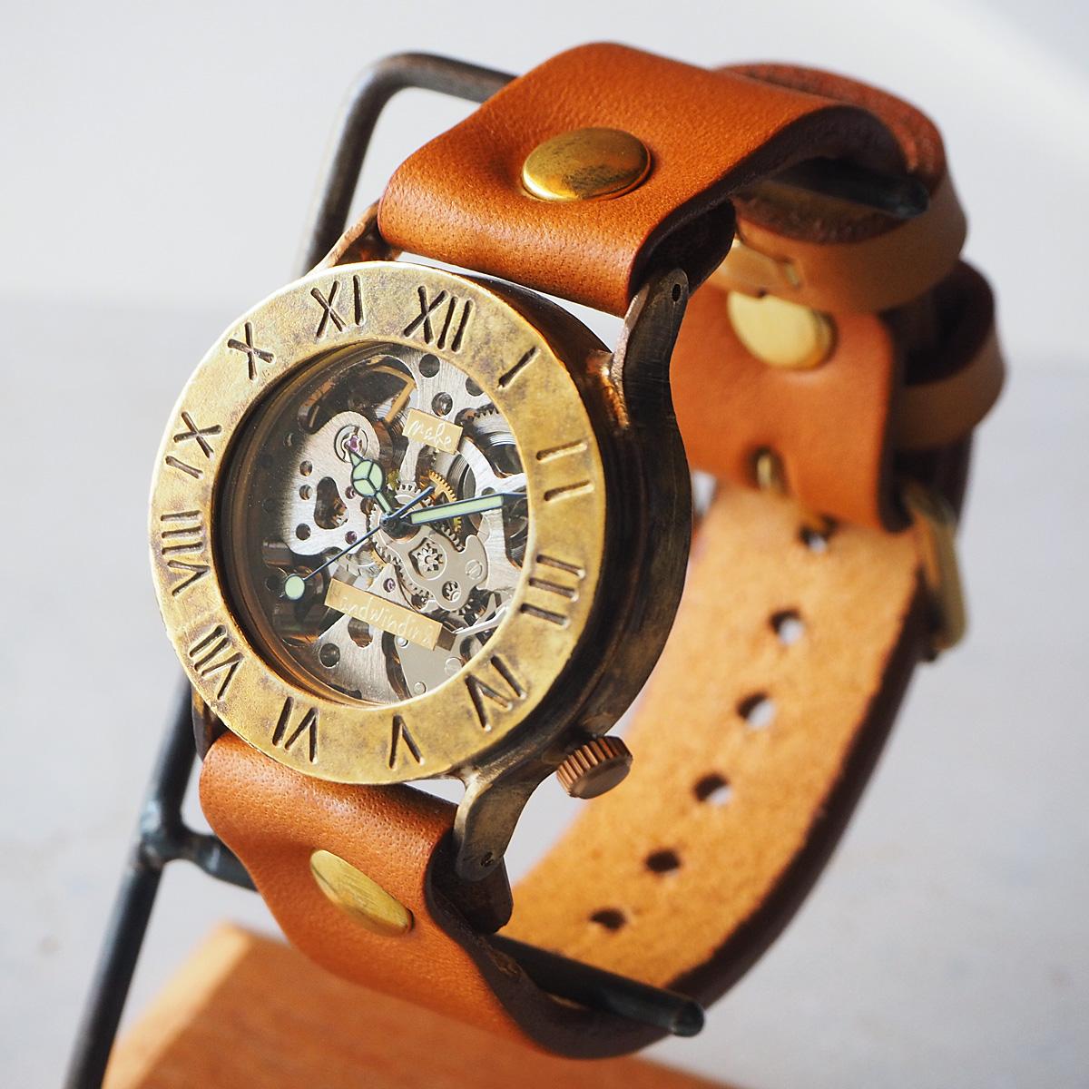 渡辺工房 手作り腕時計 手巻き式 裏スケルトン ローマ数字 36mm [NW-BHW058B] 時計作家 渡辺正明 ハンドメイドウォッチ ハンドメイド腕時計 ビッグフェイス メンズ レディース 本革ベルト 真鍮 アナログ 日本製 刻印・名入れ無料