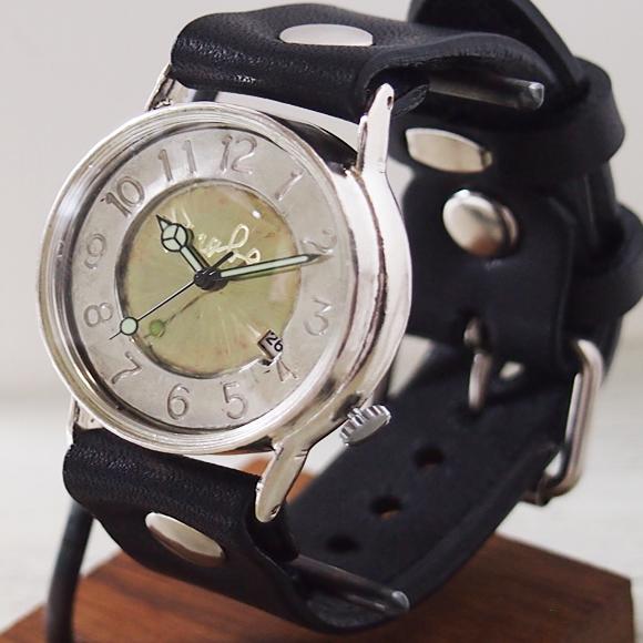 """渡辺工房 手作り腕時計 """"J.S.2-DATE""""デイト付き ジャンボシルバー [NW-JUM31SV-DATE] 時計作家・渡辺正明さんのハンドメイドウォッチ ハンドメイド腕時計 手作り時計 メンズ レディース 本革ベルト レトロ 日付カレンダー 日本製 刻印・名入れ無料"""