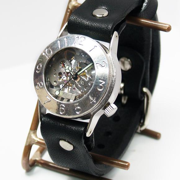 """渡辺工房 手作り腕時計 手巻き式 裏スケルトン """"Explorer2"""" メンズシルバー[NW-SHW033] 時計作家・渡辺正明さんのハンドメイドウォッチ ハンドメイド腕時計 両面スケルトン メンズ レディース 本革ベルト レトロ アナログ 日本製 刻印・名入れ無料"""