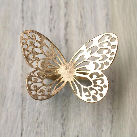 sasakihitomi(ササキヒトミ) ちょうちょのリング 真鍮 Sサイズ 18金コーティング フリーサイズ [No-034B-18K] アクセサリー作家・佐々木ひとみ 手作りアクセサリー・ハンドメイドアクセサリー・指輪 チョウチョ 蝶々 昆虫 アンティーク調 18KGP シンプル 日本製 国産