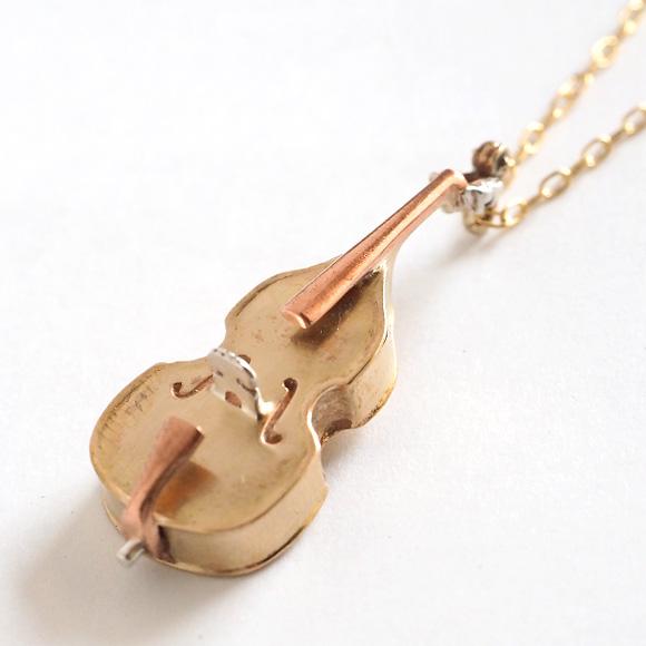 small right(スモールライト) 奏者のためのコントラバス ネックレス 真鍮 [SR-NL-13] アクセサリー作家・磯俊宏さんの手作りミニチュアアクセサリー・ハンドメイドジュエリー ゴールド 楽器 かわいい 珍しい ネックレス ペンダント メンズ レディース 日本製 国産