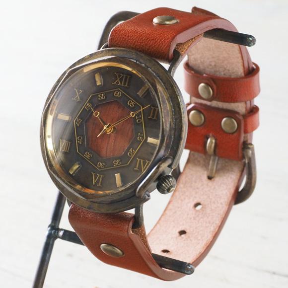 """【文字盤の木製パーツが選べます】vie(ヴィー) 手作り腕時計 """"antique wood -アンティークウッド-"""" Mサイズ(レディース) [WB-007M] ハンドメイドウォッチ・ハンドメイド腕時計 アンティーク調 アナログ 本革ベルト シンプル 滋賀 大津 木目 日本製 国産"""