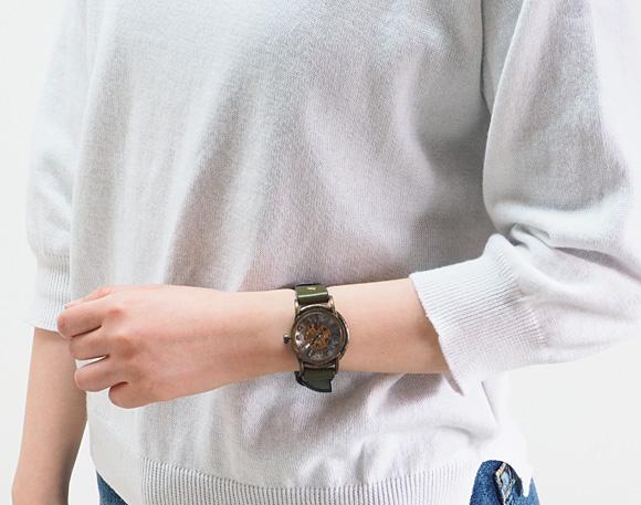 """vie(B)手制手表手卷式""""velodrome-赛车场-""""[WB-011]机械式手佣人表·手佣人手表人·女士古董风格模拟本皮革皮带简单的滋贺大津钟表工作室名牌日本制造国产"""