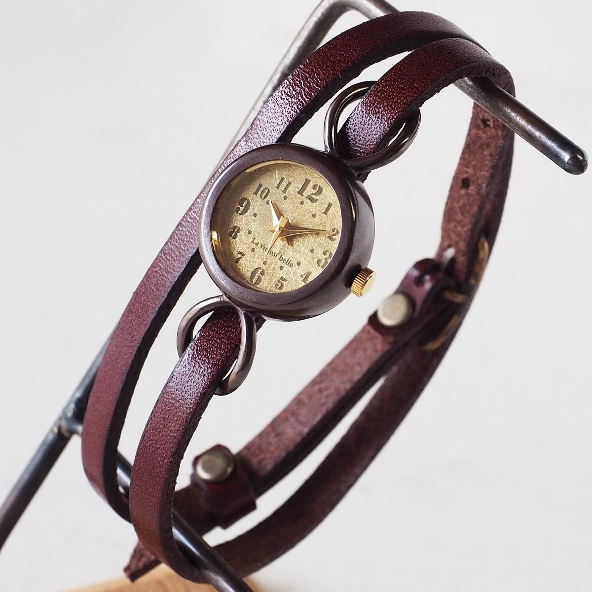 """華奢なベルトが女性らしい手作り腕時計 vie ヴィー 手作り腕時計 """"collon brass -コロン ブラス-"""" 2重ベルト レディース 当店一番人気 送料込 WB-066-W-BELT レトロ イタリアンレザー アンティーク調 時計工房ブランド シンプル 本革ベルト ブレスレット 日本製 栃木レザー ハンドメイド腕時計"""