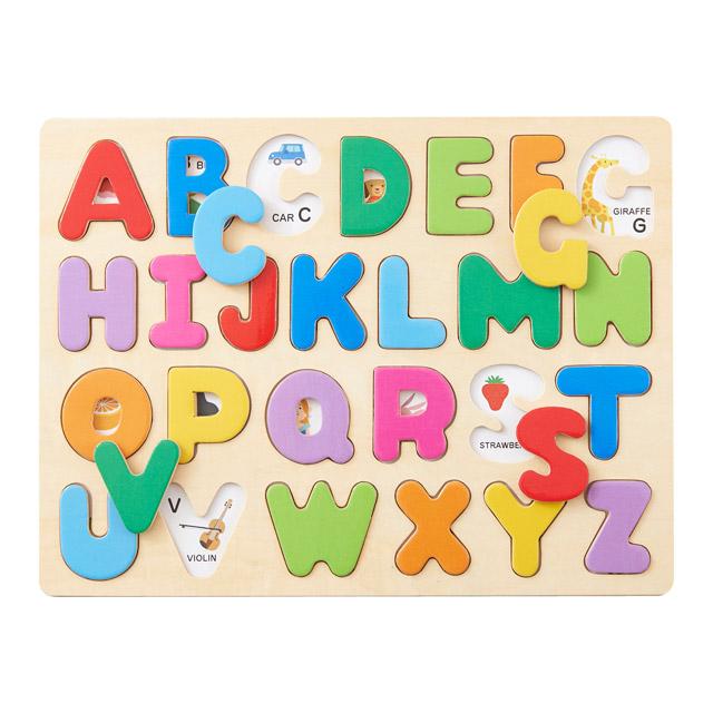 触って遊んで英語が大好きになるアルファベットパズル・木のおもちゃ知育玩具 知育玩具 3歳 「木のパズル A・B・C」 木のおもちゃ 英語 アルファベット 木製玩具 エドインター