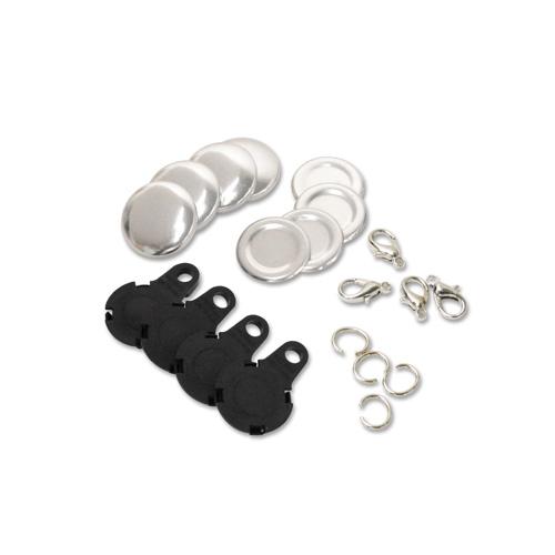 22mm チャーム型くるみボタンパーツセット( 黒 ) 250個