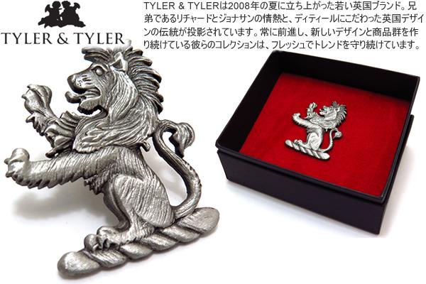 TYLER & TYLER タイラー&タイラー HERALDIC LION LAPEL PIN ヘラルディックラペルピン(ライオン)【送料無料】【スタッズ ブローチ】