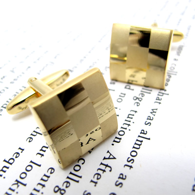 Simple 2500 MATTE & GLOSS GOLD CUFFLINKS マット&グロスカフス(ゴールド)【カフスボタン カフリンクス】