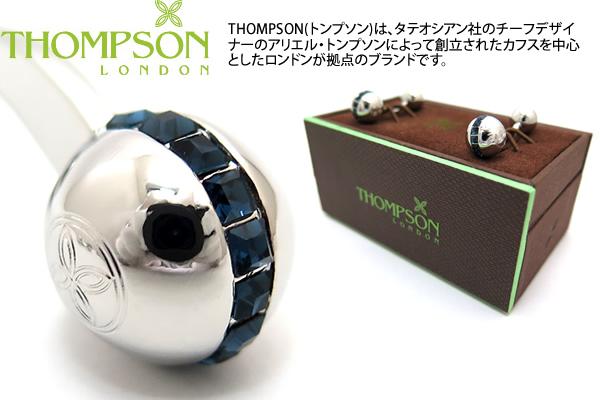 THOMPSON トンプソン TH SW SPHERE DUMBELL BLUE CUFFLINKS カフスボタン 送料無料 トンプソン正規取扱 ブランド メーカー直送 完売 カフリンクス スワロフスキースフィアダンベルカフス ブルー