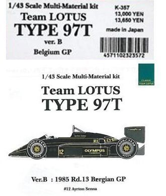 Team LOTUS TYPE 97T Belgium GP【1/43 K-357 Ver.BMulti-Material kit】