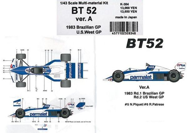 BT52 1983 BrazilianGP.U.S.WestGP【1/43 K-384 Ver.AMulti-Material kit】