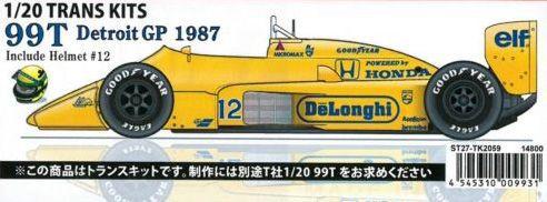 99T Detroit GP 1987 Include Helmet#12 1/20 TRANS KITS (T社1/20 対応)