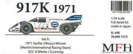 917K 1971Sarthe 24hours Winner【1/24 K-448 Ver.A Fulldetail Kit】