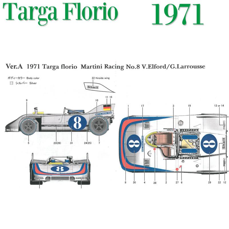 908/3 1971 Ver.A Targa Florio Martini Racing No.8【MFH 1/43 k574】